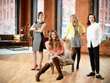 (L-R) Miriam Shor, Sutton Foster, Hilary Duff, and Debi Mazar star in YOUNGER.