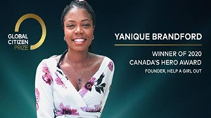Canada's Yanique Brandford to be Honoured with Hero Award on GLOBAL CITIZEN PRIZE, Airing Saturday Dec. 19 on CTV
